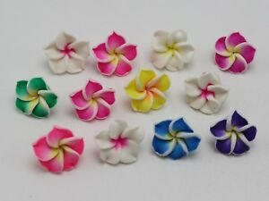 20 Mixed Color Plumeria Rubra Flower Polymer Clay Flatback Beads Craft DIY