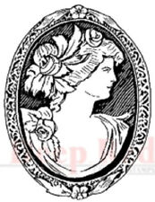 Deep Red Rubber Cling Stamp Vintage Style Cameo Brooch