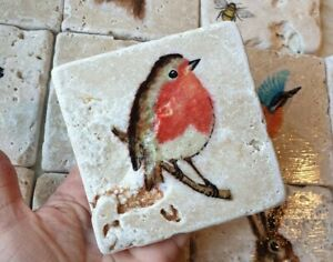 ROBIN Natural Stone coaster by Tanya J Alexander