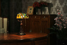 Stained Glass Tiffany Style Dragonfly Turtleback Banker's Lamp Table Desk Lamp