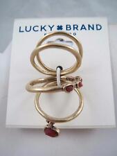 Lucky Brand gold tone set of 4~orange stone rings, sz 7, NWT