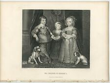 ANTIQUE BOY GIRL BROTHER SISTERS CHILDREN KING CHARLES I DOGS PORTRAIT OLD PRINT