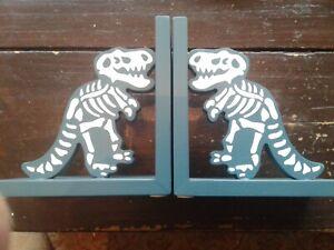 Wooden dinosaur book ends
