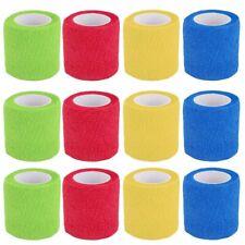 Benda Coesiva, 12 Rotoli Fasciatura Adesiva Elastica, Colorato Elastica Tessuto