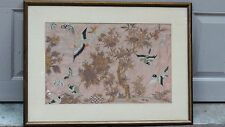 ANTIQUE 18c CHINESE LARGE GOLD STITCHES SILK BIRDS&BUTTERFLIES EMBROIDERY FRAMED
