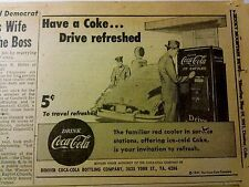 MAY 10, 1951 NEWSPAPER PAGE #968- COCA-COLA VENDING MACHINE- DRIVE REFRESHED