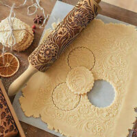 Christmas Rolling Pin Wooden Engraved Carved Flower Embossing Rolling Pin Tools