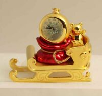 Bulova Miniature Clock Holiday Sleigh B0405 Solid Brass Collectible