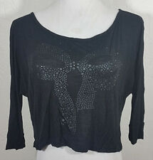 Dream Out Loud Juniors Top Small Selena Gomez Crop Black Bow Embellished Layer