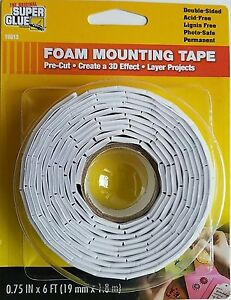 Original Super Glue Double-Sided Foam Mounting Tape Pre-Cut Tabs