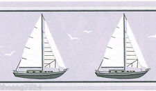 Blue White Sailboats Nautical Bathroom Baby Nursery Small Wall paper Border