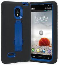 LG Optimus L9 P769 Tmobile Heavy Duty Dual Layer Hybrid Case Cover Black Blue