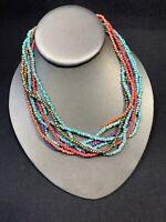 "Vintage Bohemian Beaded multi Strand Turquoise Mixed Wood Bead Necklace 16"""