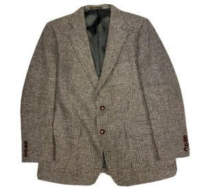 Vtg Harris Tweed Men's Houndstooth Wool Tweed 2 Btn Sport Coat Blazer Size 44 R