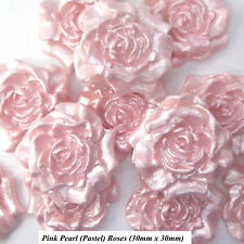 12 Pink Pearl Sugar Roses edible flowers wedding cake cupcake decorations 30mm
