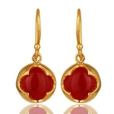 18K Yellow Gold Plated 925 Sterling Silver Red Aventurine Dangle Earrings