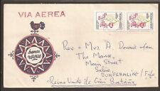Argentina 1983 airmail cover. Posted to Dunfermline, Scotland. Flower stamp