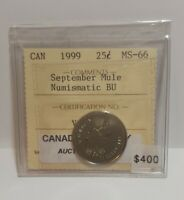 1999 September Mule Canada 25 Cents Graded ICCS MS-66 (NBU)