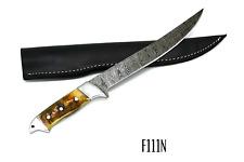 Large Fillet Knife Heavy Duty Handmade Damascus Steel  Full Tang 34cm W/ Sheath