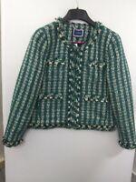 J. Crew Women's sz 8 Green Metallic Tweed Hook Front Jacket NWT AR430 Fall 2020
