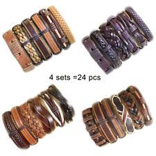 Party Gift 24pcs Mix Style Genuine Handmade Leather Cuff Bracelet Wristband DK14