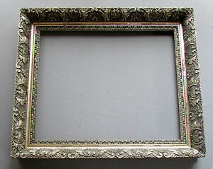 ANTIQUE 19th Century VICTORIAN ERA Wood & Gesso SILVER PAINTING FRAME circa 1880