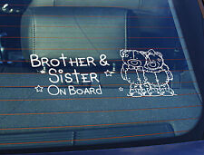 Static Cling Window Car Sign/Decal Brother & Sister on Board Teddys 100 x 250mm