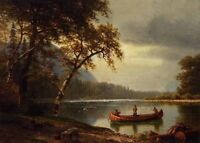 Oil Albert Bierstadt - Salmon Fishing on the Cascapediac River canvas nice view