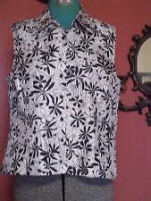 Petite's Melissa Harper Size 12P Black/White Floral Button Down Sleeveless Shirt