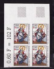 timbre France non dentelée  croix rouge    1993  num: 2853 bloc de 4 cdfhg