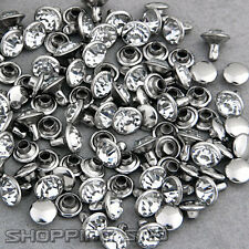 100 Sets 5mm Cz Crystals Rhinestone Rivets Rapid Silver Nailhead Spots Diy Punk