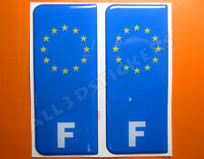 2x3D Sticker Resin Domed Euro FRANCE Number Plate Car Badge Adhesive Vinyl Decal