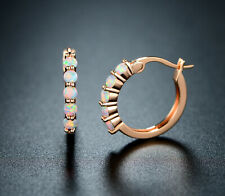 Sevil 18K Rose Gold Plated Created Opal Hoop Earrings