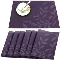 Placemats PVC Heat-resistant Washable Set of 6 Table Mats Woven Purple Leaf Home