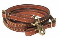 "Showman 8' x 1/2"" Leather Brass Studded Western Contest Reins"