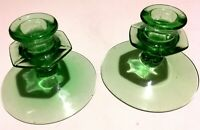 VINTAGE VASELINE GLASS CANDLE HOLDERS (2)