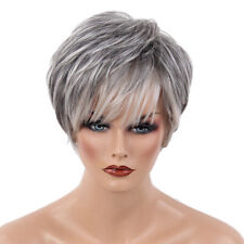 Natural Chic Short Wigs for Women Human Hair with Bangs Fluffy Pixie Cut Wig