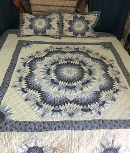 JC PENNEY HOME COLLECTION blue QUILT BEDSPREAD SET pillow KING SIZE STAR