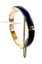 Vintage Oval Navy Blue Enamel on Gold Tone w/ Saftey Chain Cuff Bracelet  1960's
