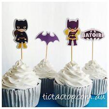 12x Batgirl Cupcake Topper Pick Jelly Cup Topper *HANDMADE* Superhero Girls
