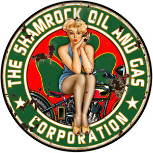 Sexy Distress Shamrock Gas And Oil Pin Girl Motorcycle 14 Inch Round Metal Sign