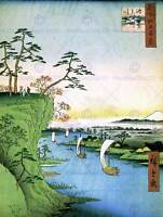 PAINTING JAPANESE WOODBLOCK BOATS RIVER CLIFF TOP FINE ART PRINT POSTER CC3448