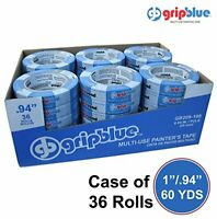 """Easy Removal Multi-Use Blue Painters Tape Crepe Paper Adhesive 1""""x60yds 36 Rolls"""