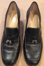 👡 Ralph Lauren Ladies SHOES Made in Brazil Sz  6.5 B Black Leather Wedge Heel