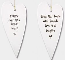 East of India Hanging White Long Porcelain Heart Plaque Sign Xmas Gift Decor