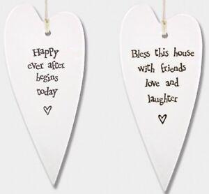 East of India Hanging White Long Porcelain Heart Plaque Sign Keepsake Gift