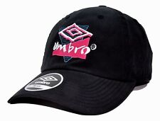 Umbro Soccer Lightweight Relaxed Fit Black Adjustable Cap Hat with Retro Logo