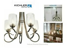 Kichler Chesterlyn 5-Light Vintage Tuscan Bronze Ribbed Glass Shade Chandelier