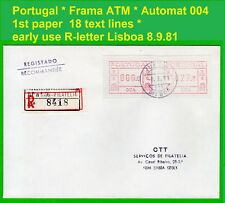 Portugal Frama ATM 1 * 004 * early use Inland R-Letter * Lisboa 8.9.81 * CVP