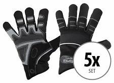 5 Paar professionelle Rigger Handschuhe mit langen Fingern, Kunstleder Schwarz